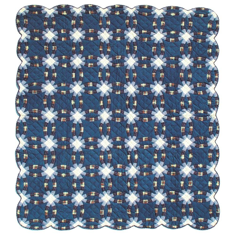 Patch Magic Queen Blue Dbl Wedding Ring Quilt, 85-Inch by 95-Inch by Patch Magic