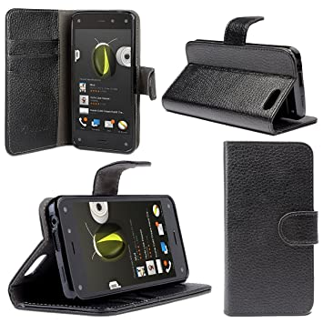 new styles a9216 128d2 i-Blason Amazon Fire Phone Case - Slim Leather Wallet Book Cover with Stand  Feature and Credit Card ID Holders (Black)