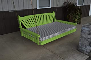 product image for DutchCrafters Amish Pine Wood Fanback Swing Bed (Lime Green, 5')