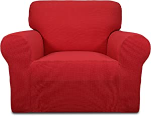 Easy-Going Stretch Sofa Slipcover 1-Piece Sofa Cover Furniture Protector Couch Soft with Elastic Bottom Kids,Polyester Spandex Jacquard Fabric Small Checks(Chair,Christmas Red)