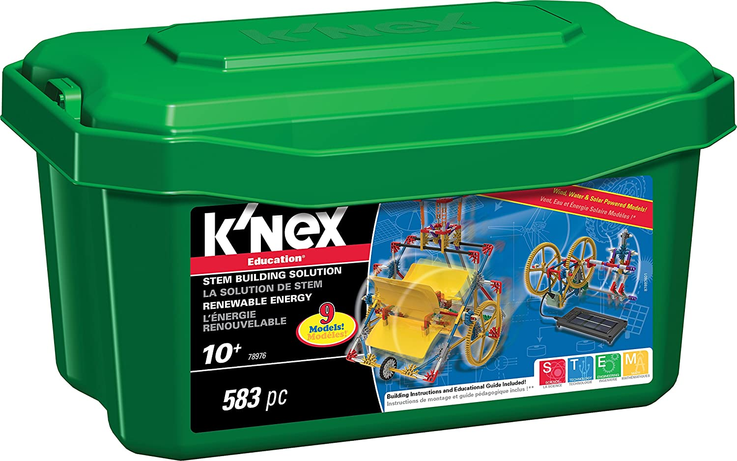 com k nex education renewable energy set 583 pieces  com k nex education renewable energy set 583 pieces ages 10 engineering educational toy toys games