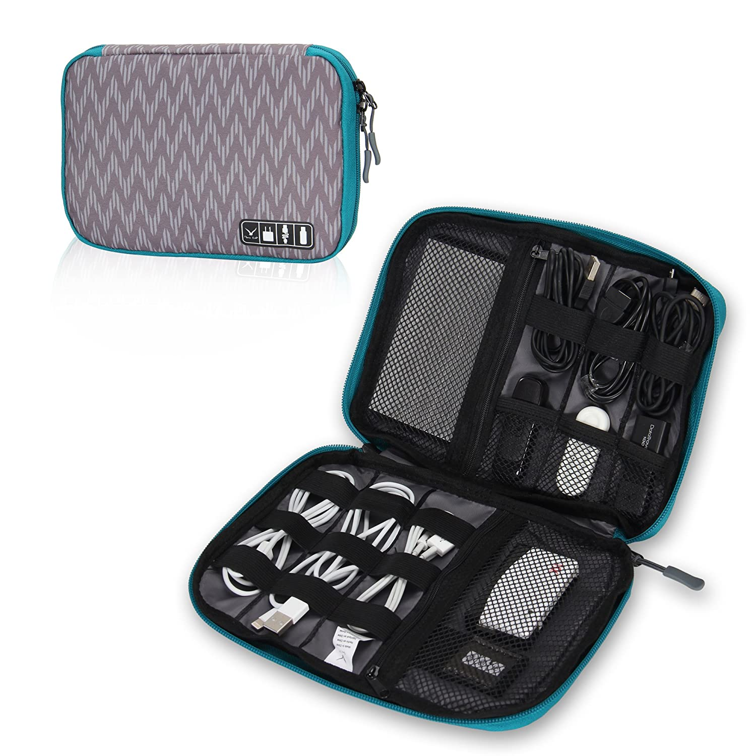 Charge and Cable Hynes Eagle Travel Universal Cable Organizer Electronics Accessories Cases for Various USB Phone Monochrome