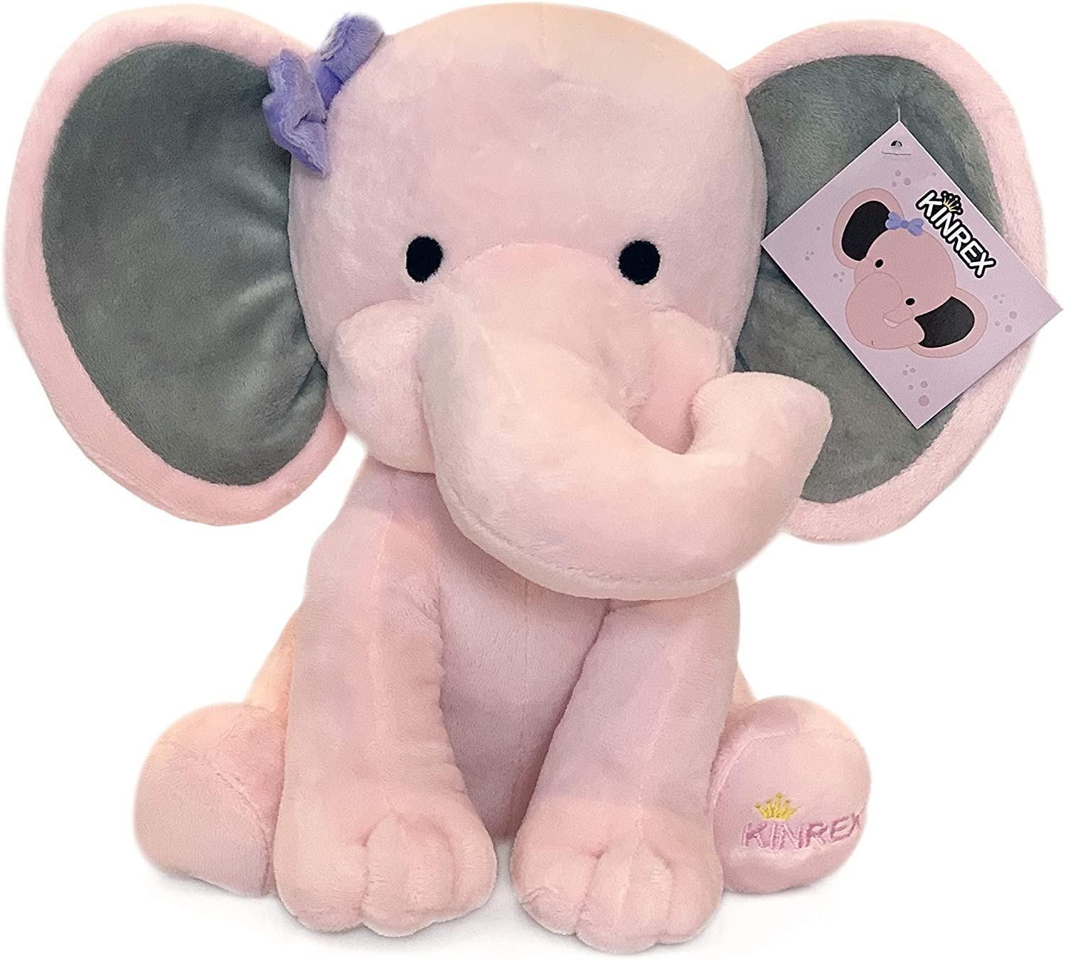 Amazon Com Kinrex Stuffed Elephant Animal Plush Toys For Baby Boy Girls Great For Nursery Room Decor Bed Pink Measures 9 Inches Toys Games