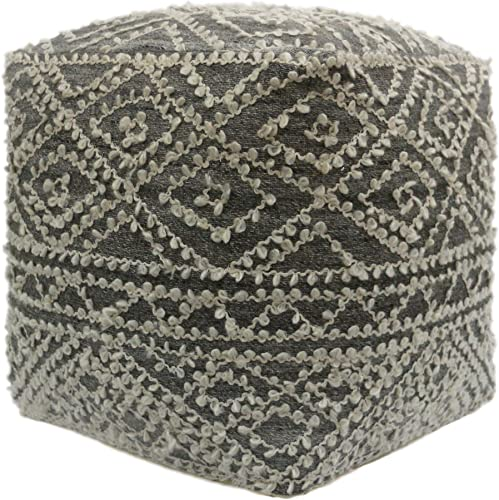 Christopher Knight Home Sylvia Cube Pouf, Boho, Wool and Viscose, Gray, Blue