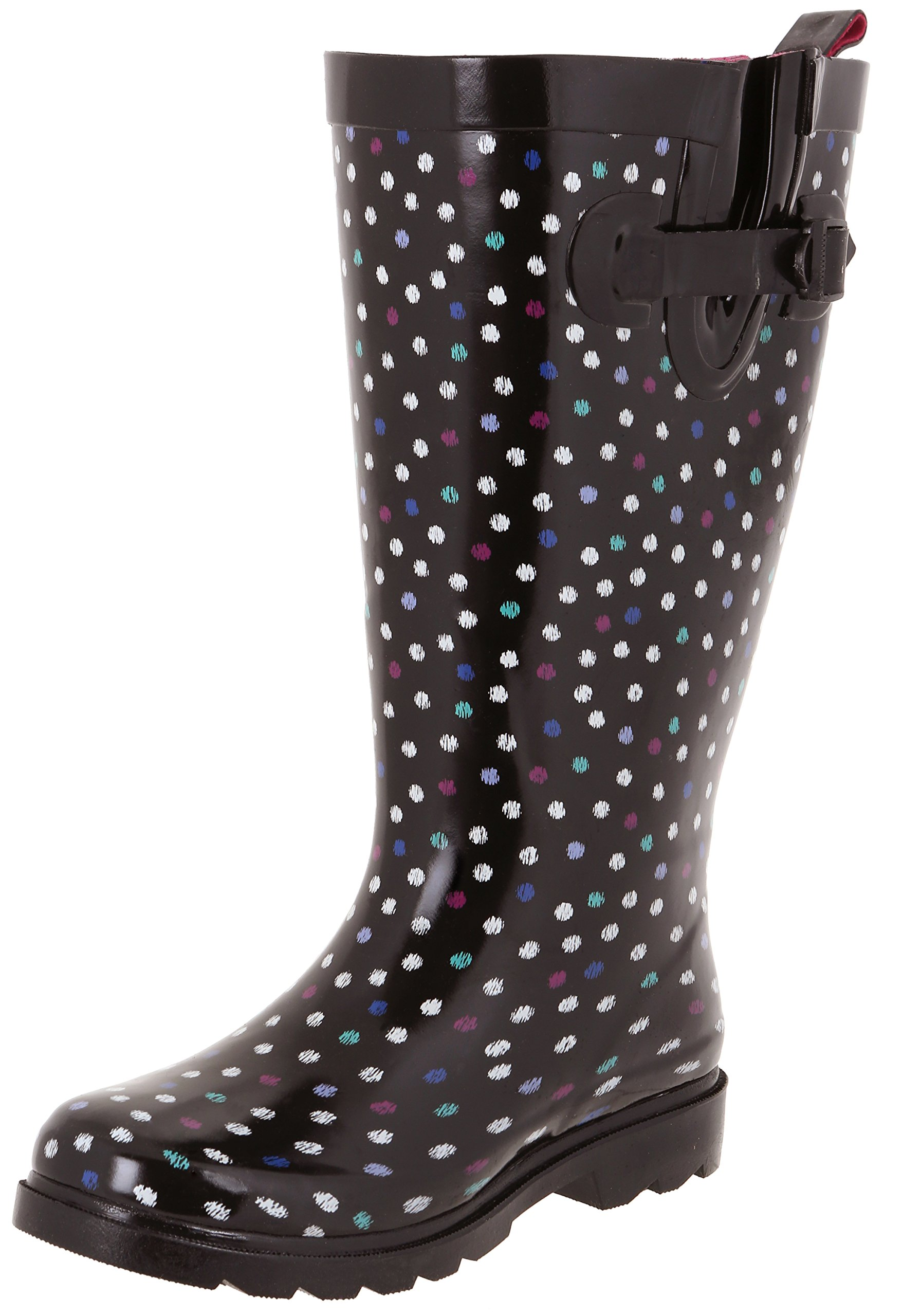 Capelli New York Ladies Scattered Ikat Dots Wide Calf Rain Boots Black Combo 9