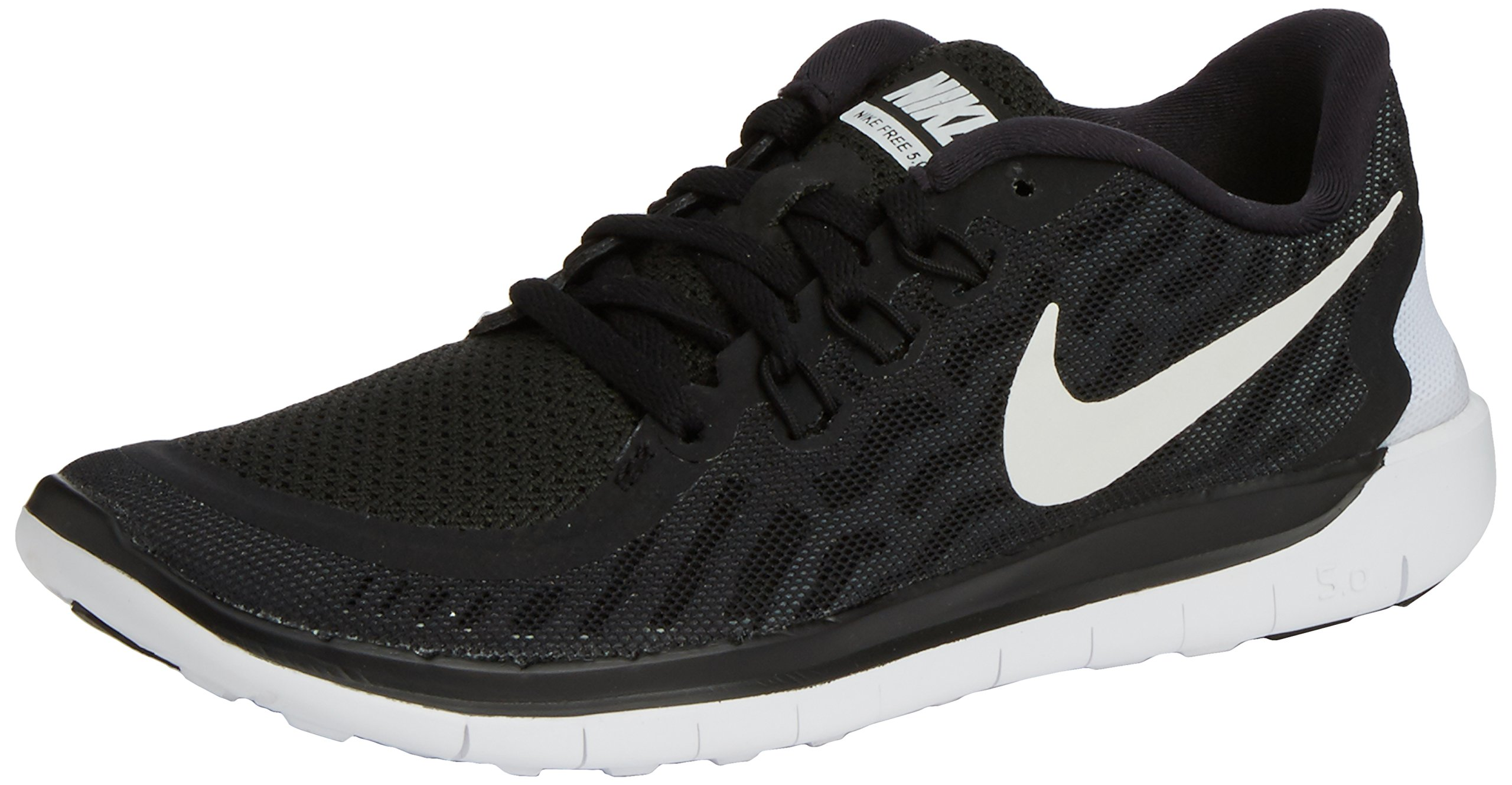 Boy's Nike Free 5.0 Running Shoe (GS) Black/Grey/White Size 7 M US by NIKE