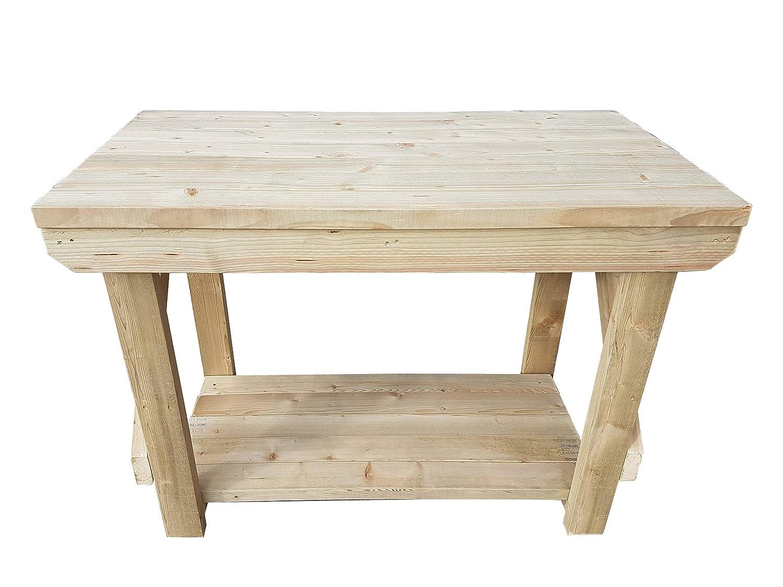 GMS TIMBER LTD Workbench Indoor / Outdoor - Pressure Treated - Heavy Duty - Handmade Garage Workshop Work Table (3FT)