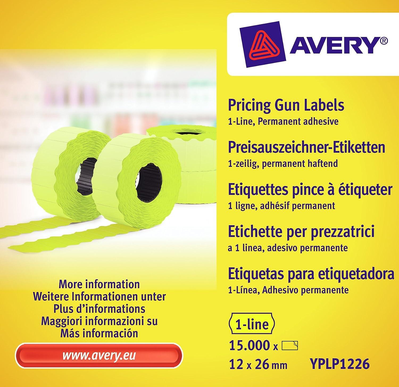 Avery Zweckform L7250-300 - Etichette adesive per prezzi, 12 x 26 mm, 10 fogli per un totale di 15.000 etichette, colore: Giallo Avery Tico Srl YPLP1226