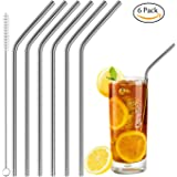 Acerich Set of 6 Stainless Steel Straws Reusable Metal Drinking Straws for 30 oz & 20 oz Tumblers Cups Mugs Cold Beverage, Free Cleaning Brush Included