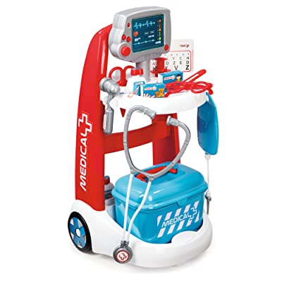 Smoby Roleplay Doctor Playset Cart with 16 Accessories and Alarm Sounds, 22-Inch, Red Playset: Toys & Games