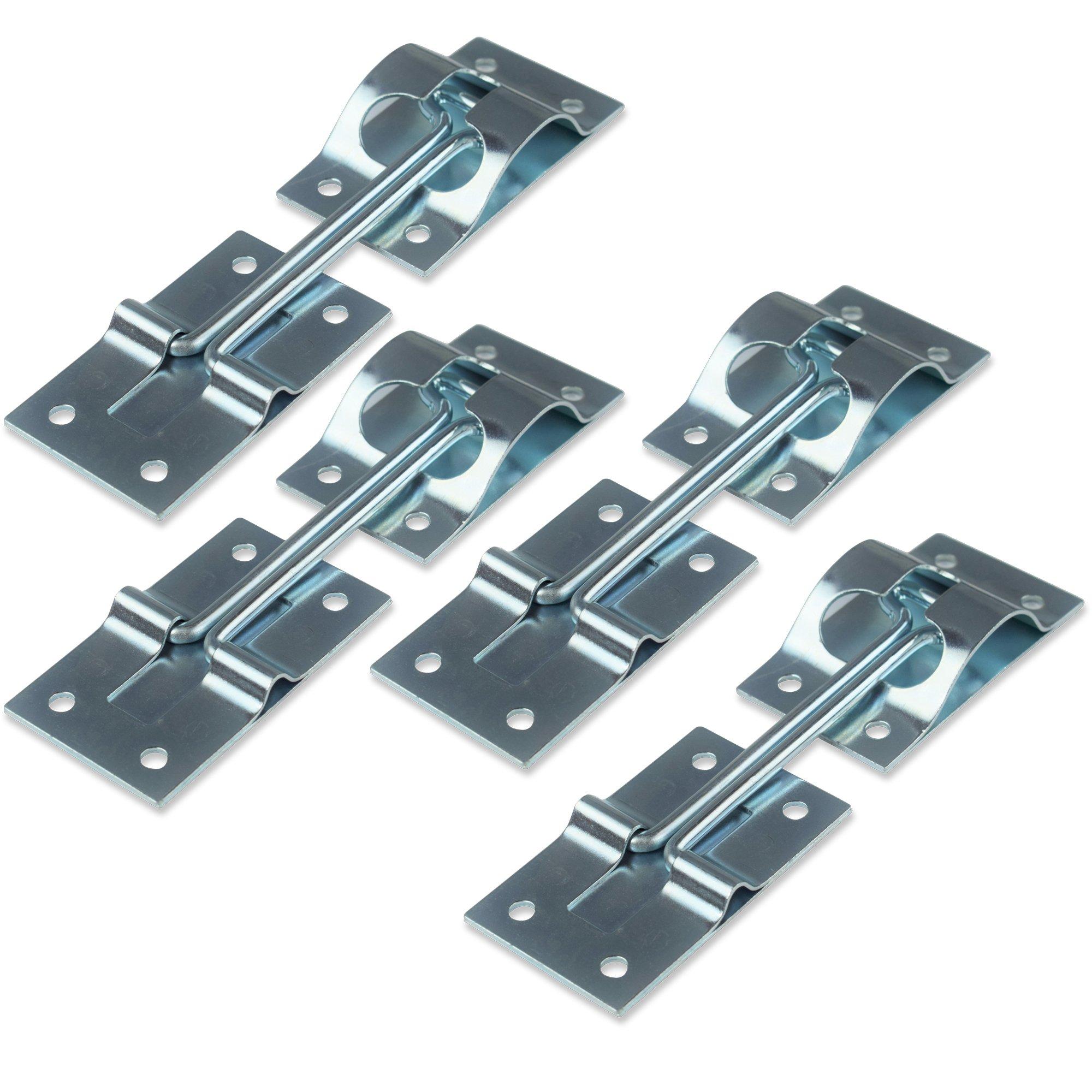 4 Pack 4'' Inch Metal T-Style Door Holder Entry Door Catch fits RV Trailer Camper Exterior Door Hold Hook & Keeper Hardware Zinc Plated Steel (4, 4'')