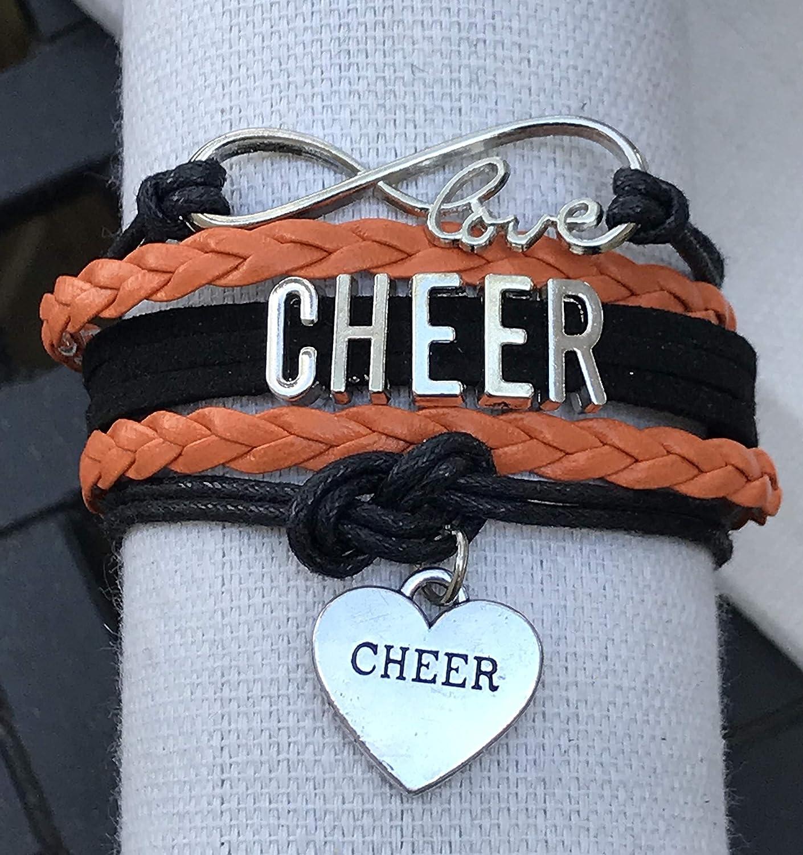Infinity Love Adjustable Cheerleading Jewelry in Team Colors for Cheerleader Cheer Charm Bracelet