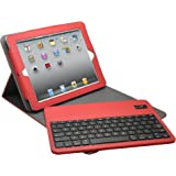 Aduro FACIO Case with Bluetooth Removable Keyboard for Apple iPad 2 / 3 & 4 Generation (Red/Grey)
