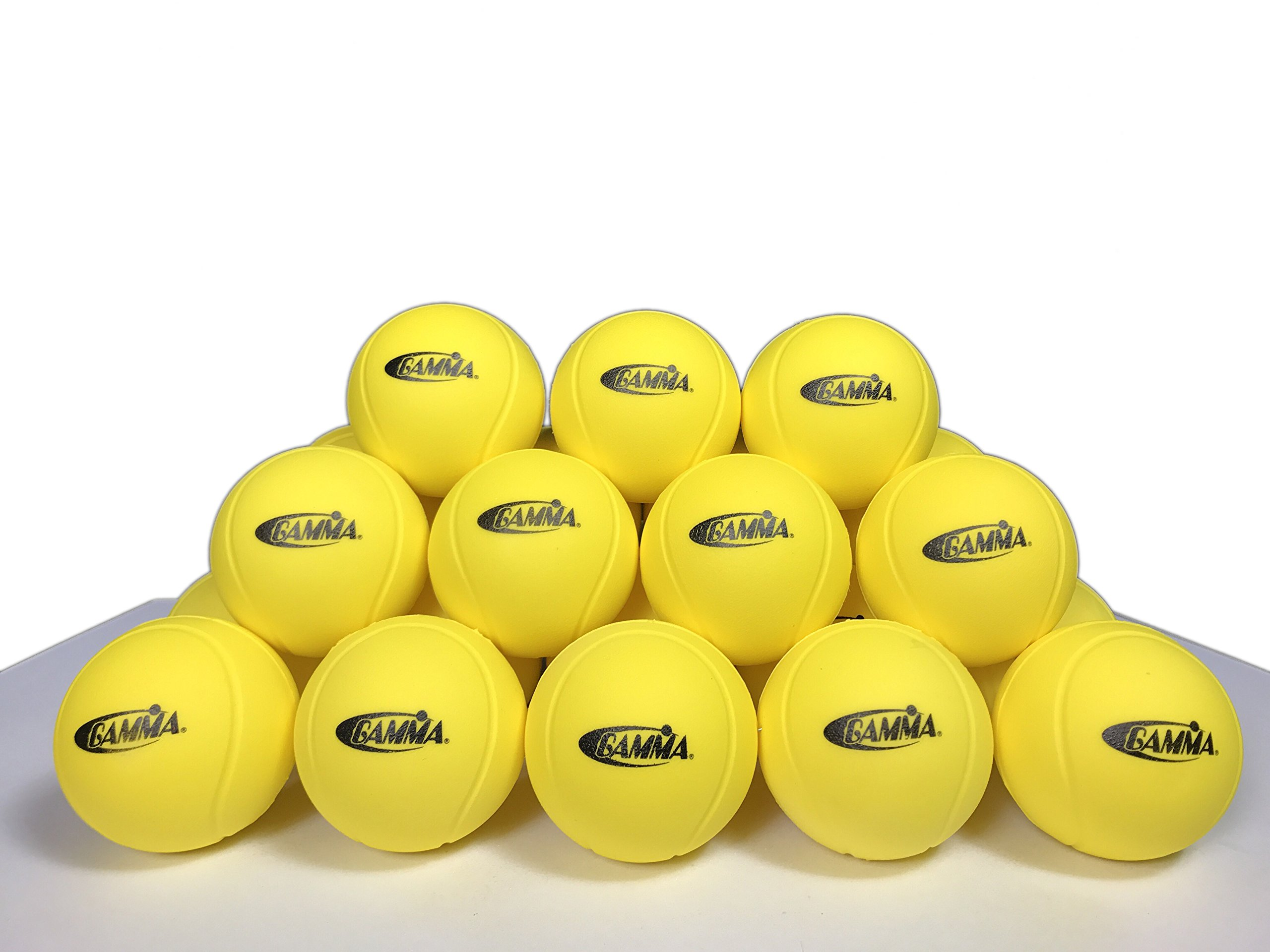 Gamma Sports Quick Kids 36 Foam Low Bounce Training and Practice Tennis Balls for Kids and Beginners, 75% Slower than Standard Tennis Balls (Designed for 36' Tennis Courts, 60 Pack, Yellow)