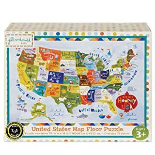 C.R. Gibson United States Map Floor Jigsaw Puzzle Game for Kids, 74pc