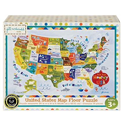 Us Map Game For Kids.Amazon Com C R Gibson United States Map Floor Jigsaw Puzzle Game