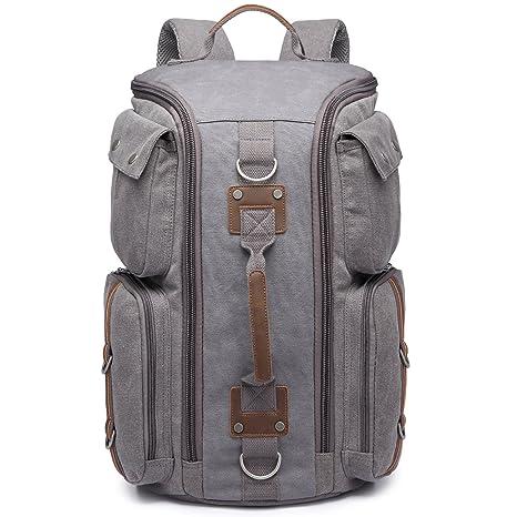 7609ca8669 KAUKKO Multi-Function Vintage Canvas Zaino escursionismo viaggio Zaini  militari Messenger Bag (Grigio 363