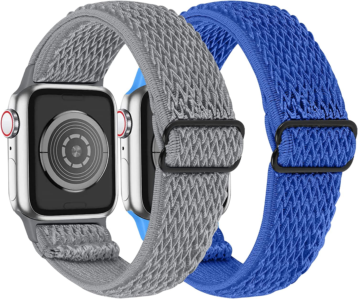 MEFEO 2 Pack Stretchy Solo Loop Strap Compatible with Apple Watch Bands 38mm 40mm 42mm 44mm, Adjustable Elastic Nylon Wristband Replacement for iWatch Series 6/SE/5/4/3/2/1 (Gray+Royal Blue,42mm/44mm)