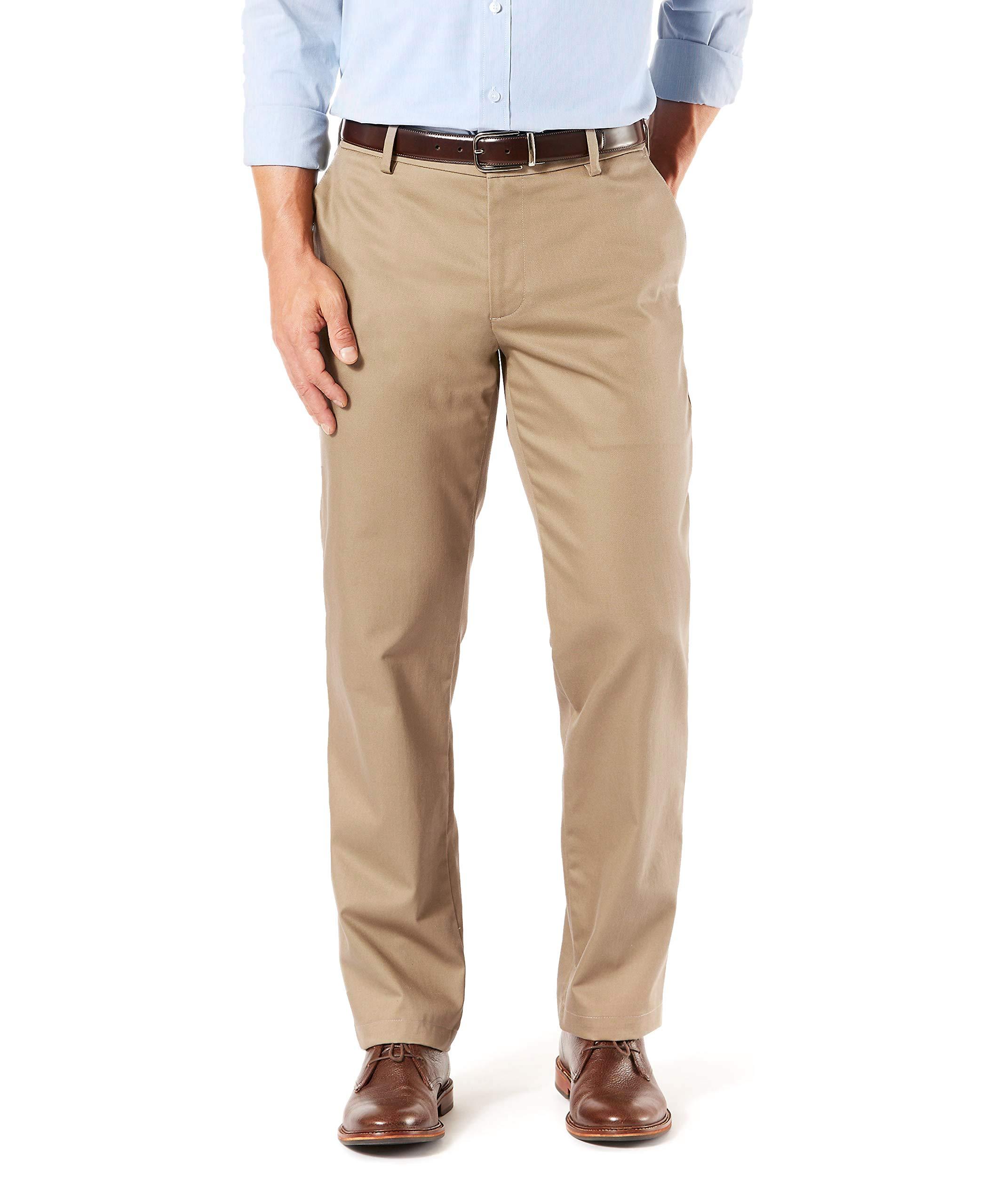 Dockers Men's Straight Fit Signature Khaki Lux Cotton Stretch Pants, New British Khaki, 36 32