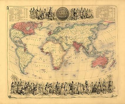 Reproducción mapa de Imperio en todo el mundo por Bartholomew A1 afiche 71 x 58 cm