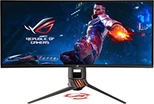 "Asus ROG Swift PG349Q 34"" Curved G-Sync Gaming Monitor 120Hz 3440 X 1440 IPS with Eye Care Aura Sync DP HDMI,Black"