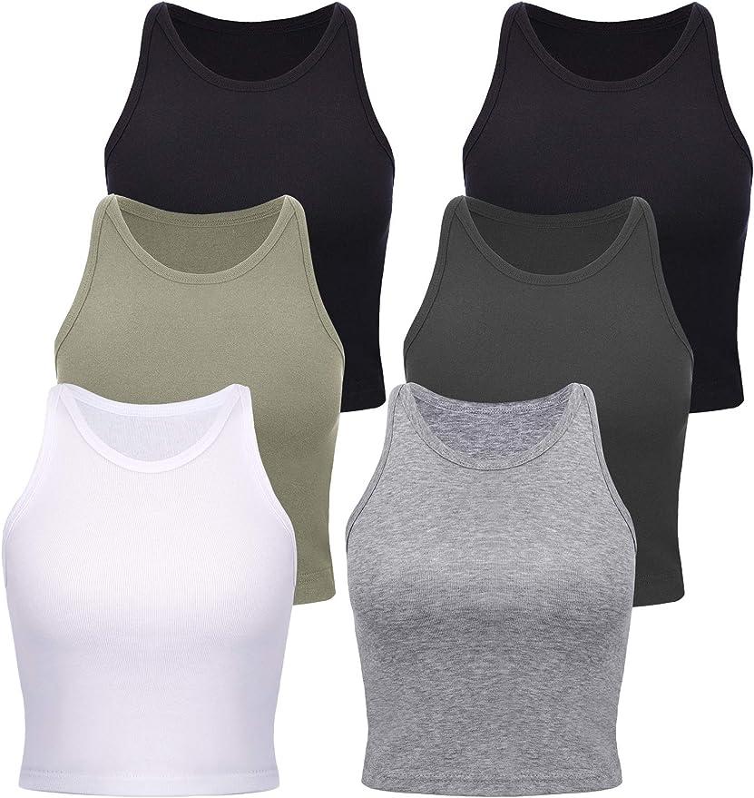 4 Pieces Women/'s Basic Crop Tops Sport Cotton Tank Tops Racerback Sleeveless Top Sleep Bra 4 Colors