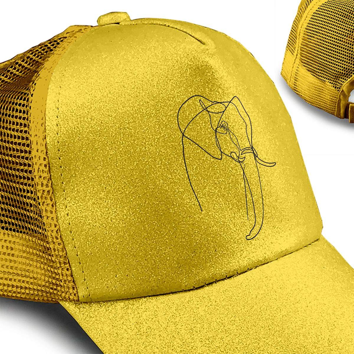 Elephant Heart LINE Ponytail Messy High Bun Hat Ponycaps Baseball Cap Adjustable Trucker Cap Mesh Cap