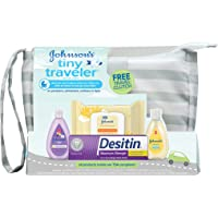 Johnson's Tiny Traveler Baby Gift Set, Baby Bath and Skin Care Essential Products, TSA-Compliant Travel Baby Gift Set…