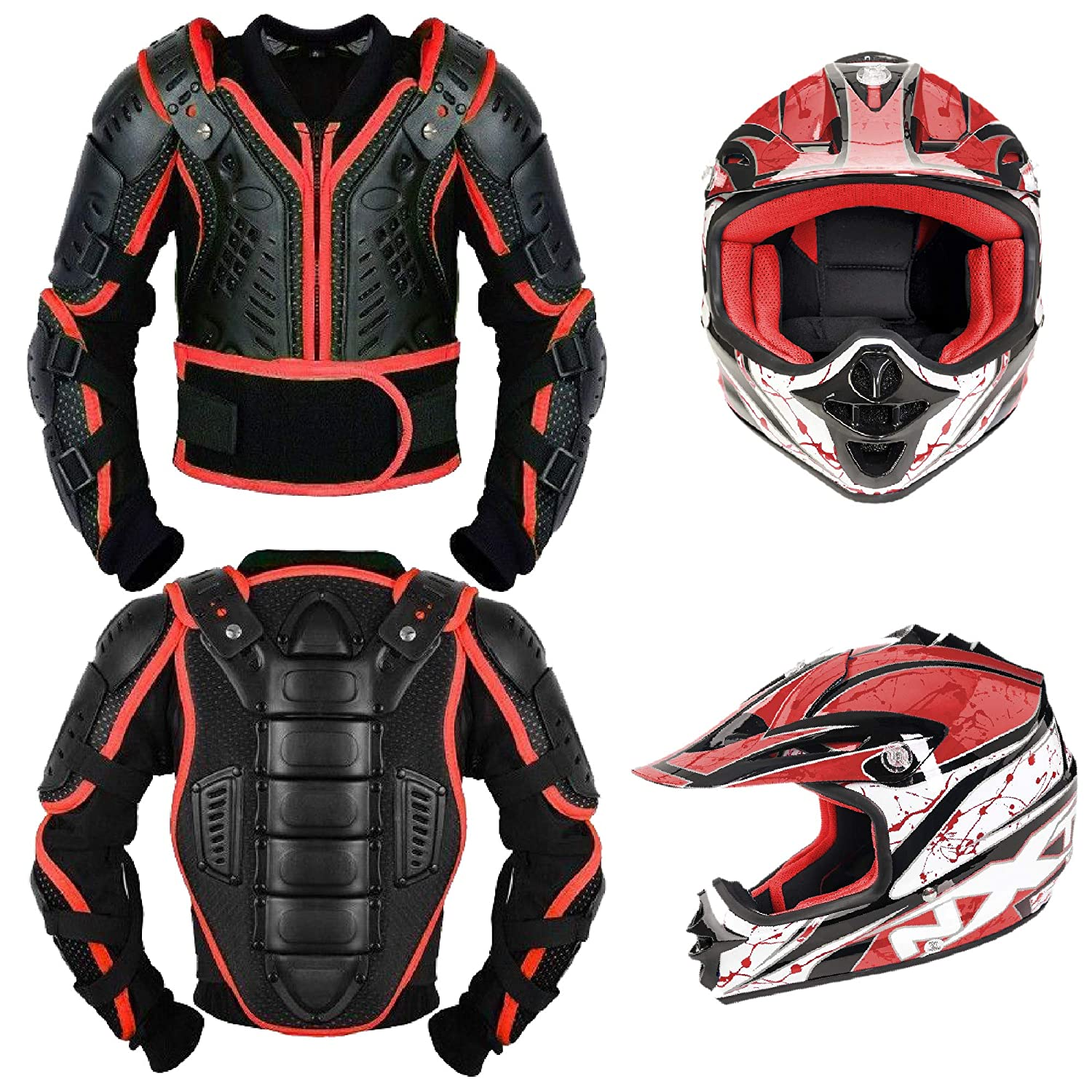 Year 10 Kids Motorbike Body Armours Motorcycle Gear Armors Motorcross Bikes Guard with Motorbike Helmet Childern Full Face Protection CE Approved Jacket