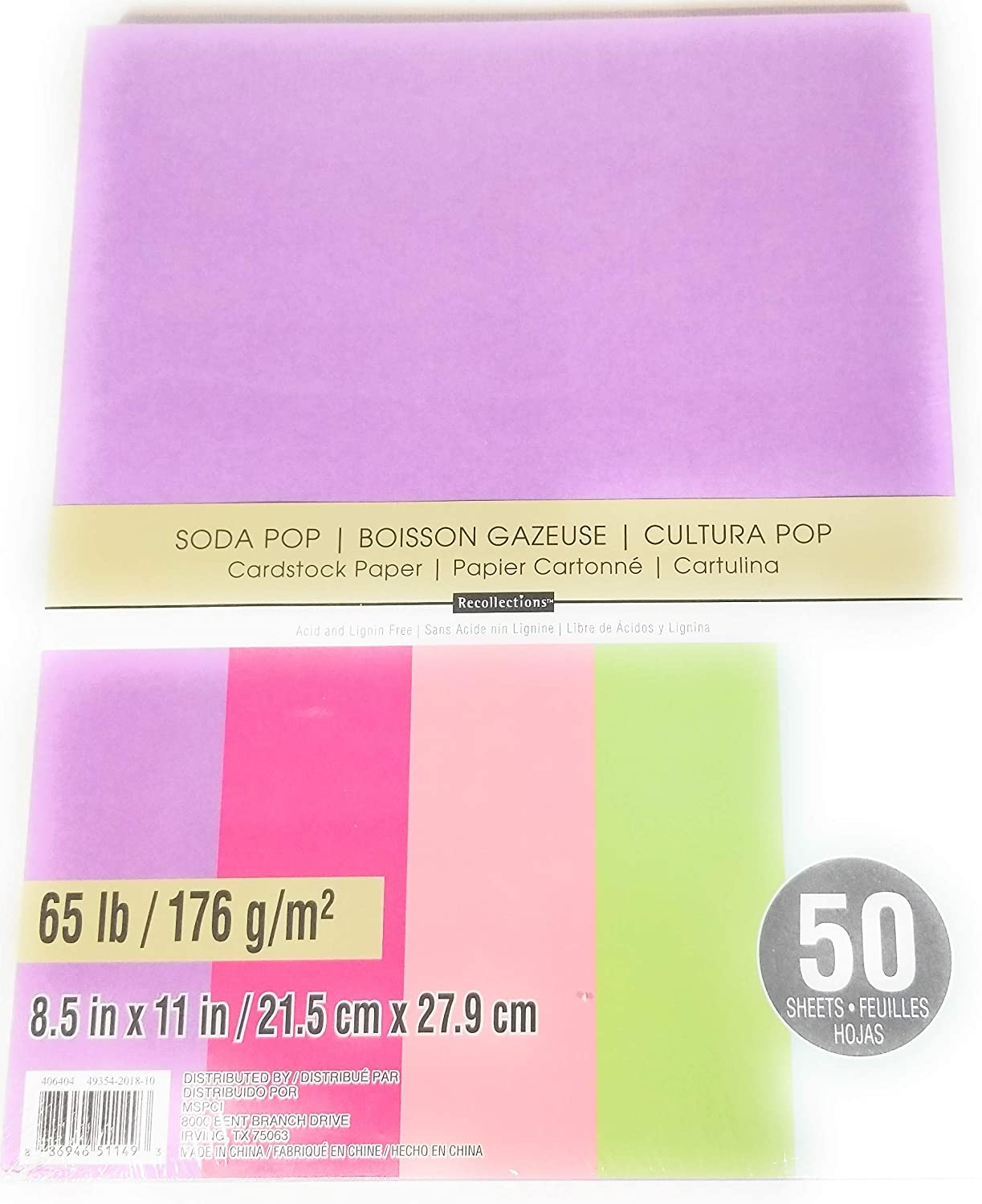 "Recollections Cardstock Paper 8 1//2/"" X 11/"" 200 Sheet Bright Essentials Pink Blue"