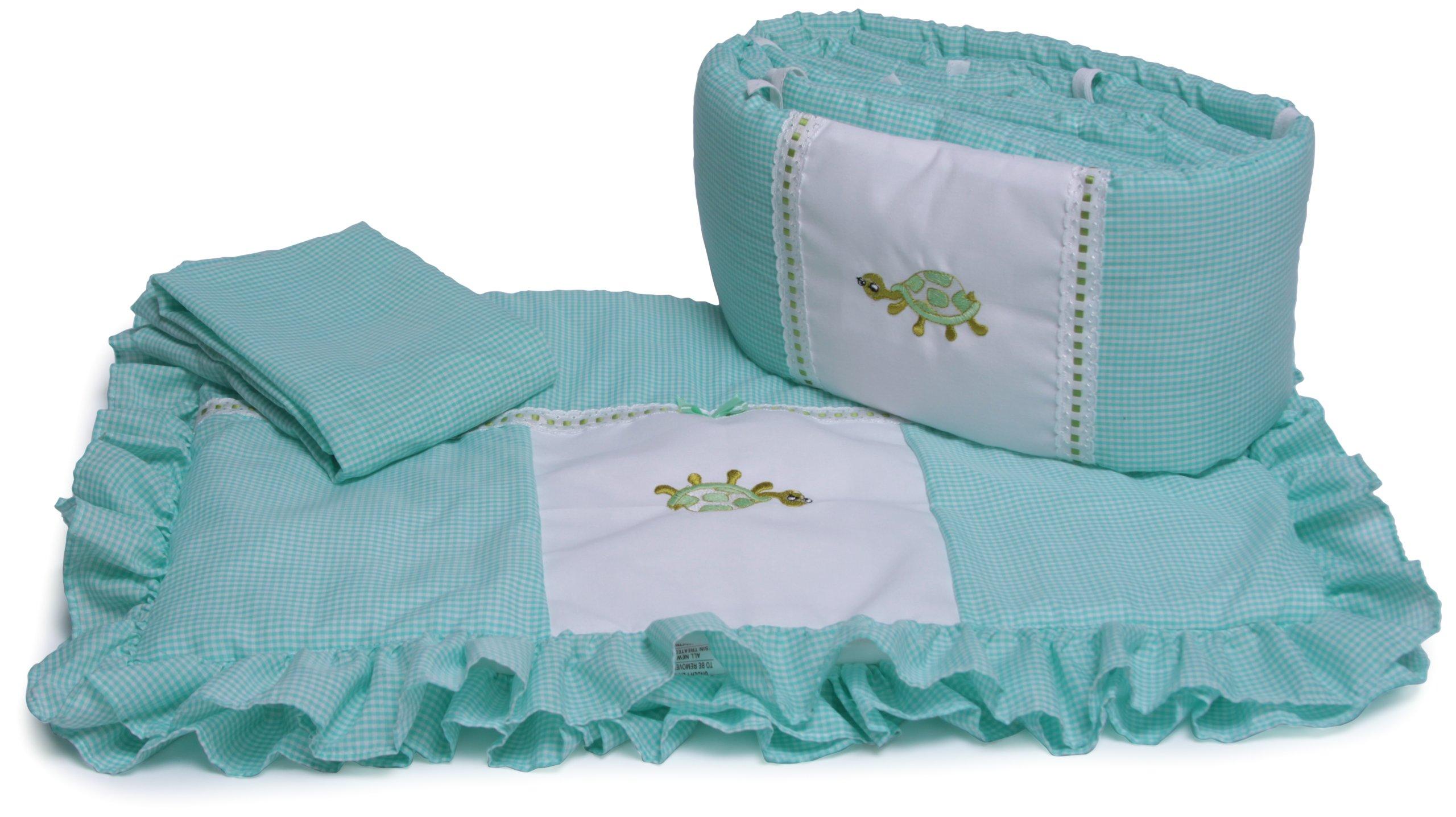 Baby Doll Bedding Gingham Applique Cradle Bedding Set, Turtle