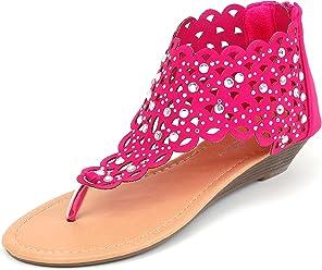 85dc7f04ada62 Luo Luo Womens Wedge Heel Sandals Fuschia Rhinestone Embellished Thongs