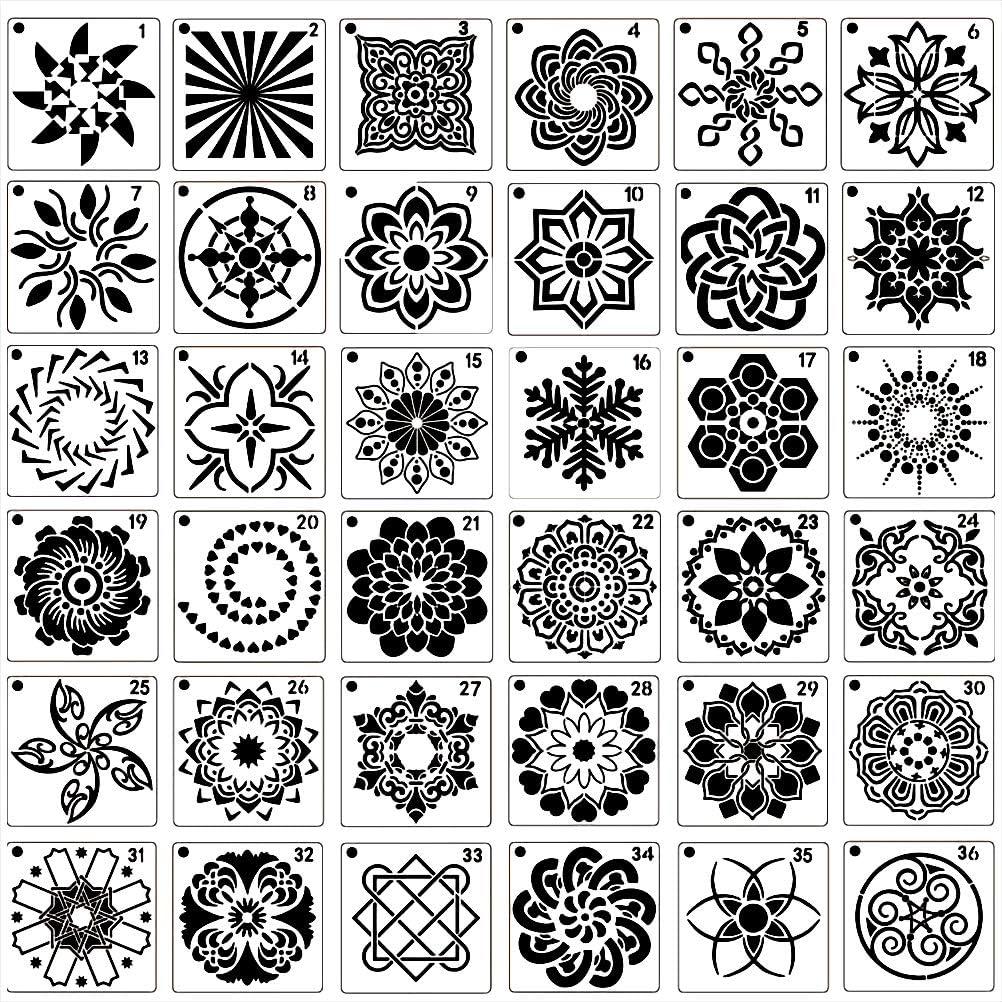 Mandala Stencils Laser Cut Painting Template Painting Stencil for DIY Walls Art Scrapbook nuoshen 36 Pcs Reusable Stencils