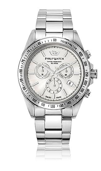 e169d47ab738 Reloj de Pulsera de Cuarzo de los Hombres de Philip Caribe con Hoja de  Plata y la Plata de la Correa de Acero Inoxidable R8273607003  Amazon.es   Relojes