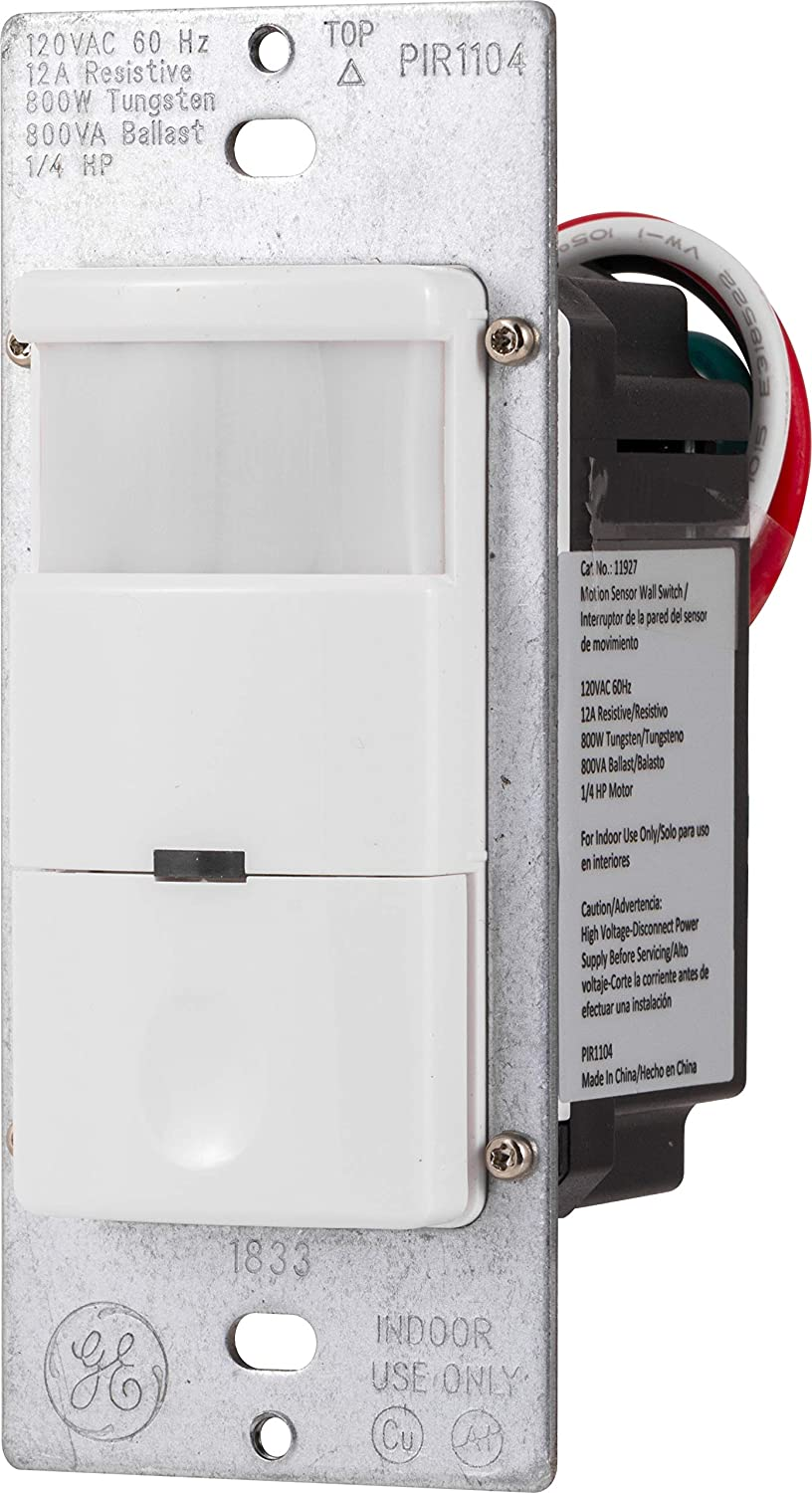 GE UltraPro in-Wall Motion Sensing Switch with Occupancy and Vacancy Options, Single Pole, Automatic/Manual Controls, 150 Degree 30ft.