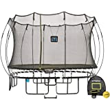Springfree Trampoline - 11ft Large Square Smart Trampoline With Basketball Hoop, Ladder, tgoma