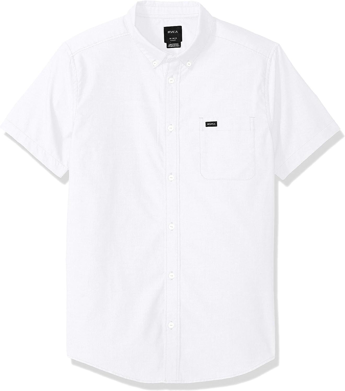 RVCA Men's Oxford Short Sleeve Button Down Shirt, White, XL