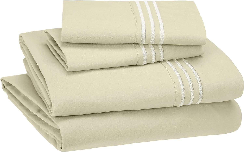 AmazonBasics Premium, Easy-Wash Embroidered Hotel Stitch Sheet Set - Full, Aloe Green