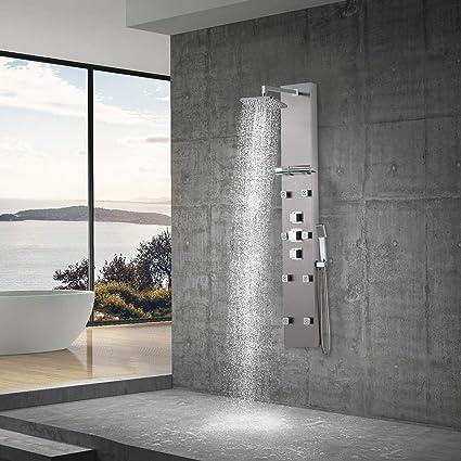 Panel de ducha de acero inoxidable con lluvia de ducha, 8 ...