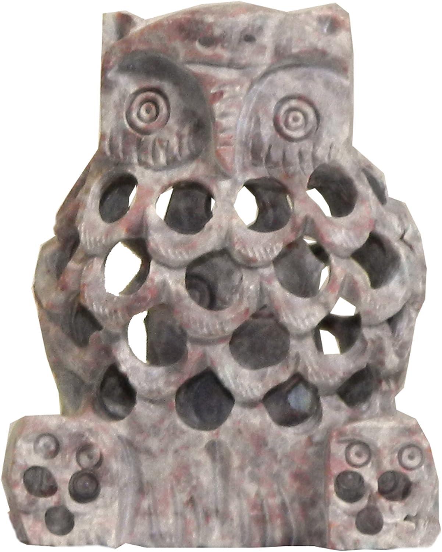 Búho piedra de talco 9cm decoración escultura