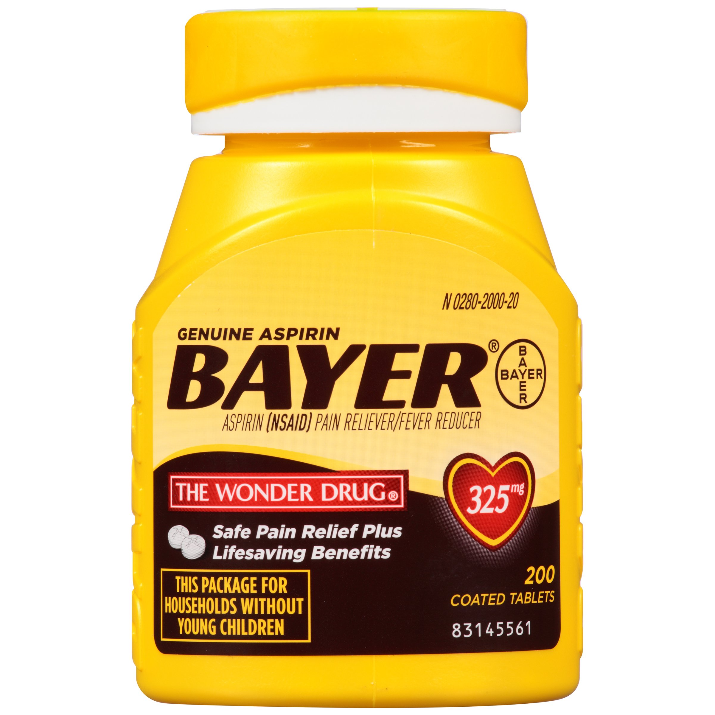 Genuine Bayer Aspirin, 325 mg, Coated Tablets, 200 count by Bayer