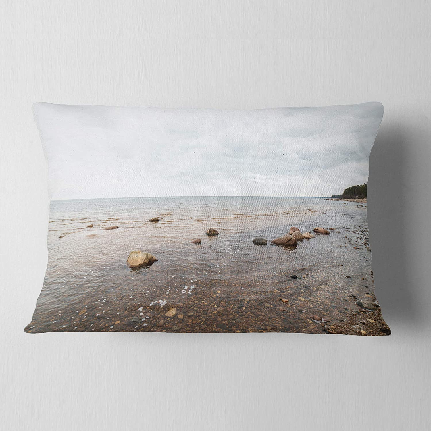 Sofa Throw Pillow 12 in Insert Printed On Both Side Designart CU8968-12-20 Rocky Autumn Beach Seashore Photography Lumbar Cushion Cover for Living Room x 20 in in