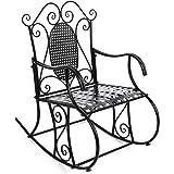 SONGMICS Feuteuil/Chaise à Bascule en Fer pour Balcon Jardin Salle GRC101B