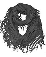 HUE21 Women's Fringe Knitted Crochet Cutout Infinity Scarf Black Color