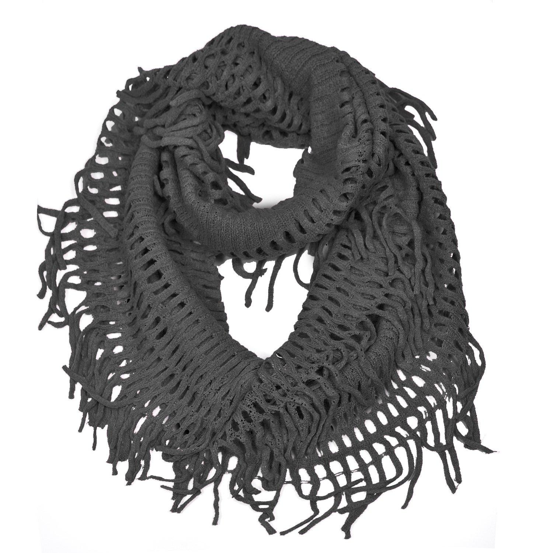 HUE21 Women\'s Fringe Knitted Crochet Cutout Infinity Scarf Black ...