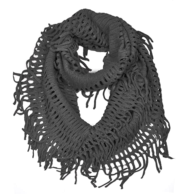Hue21 Womens Fringe Knitted Crochet Cutout Infinity Scarf Black