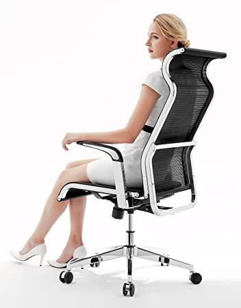 SIHOO Ergonomic Office Chair Computer Desk Chair Large Headrest High Back Mesh Chair Metal Design Frame Adjustable Swivel Task Chair Black