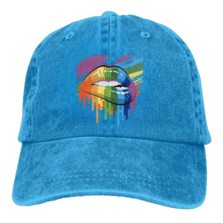 JTRVW Proud Rainbow Lips Pride Unisex Adjustable Baseball Caps Denim Hats Cowboy Sport Outdoor