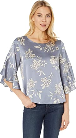 6d974a3dc1f7 Vince Camuto Womens Bell Sleeve Refined Etched Bouquet Blouse Midnight Fog  XS