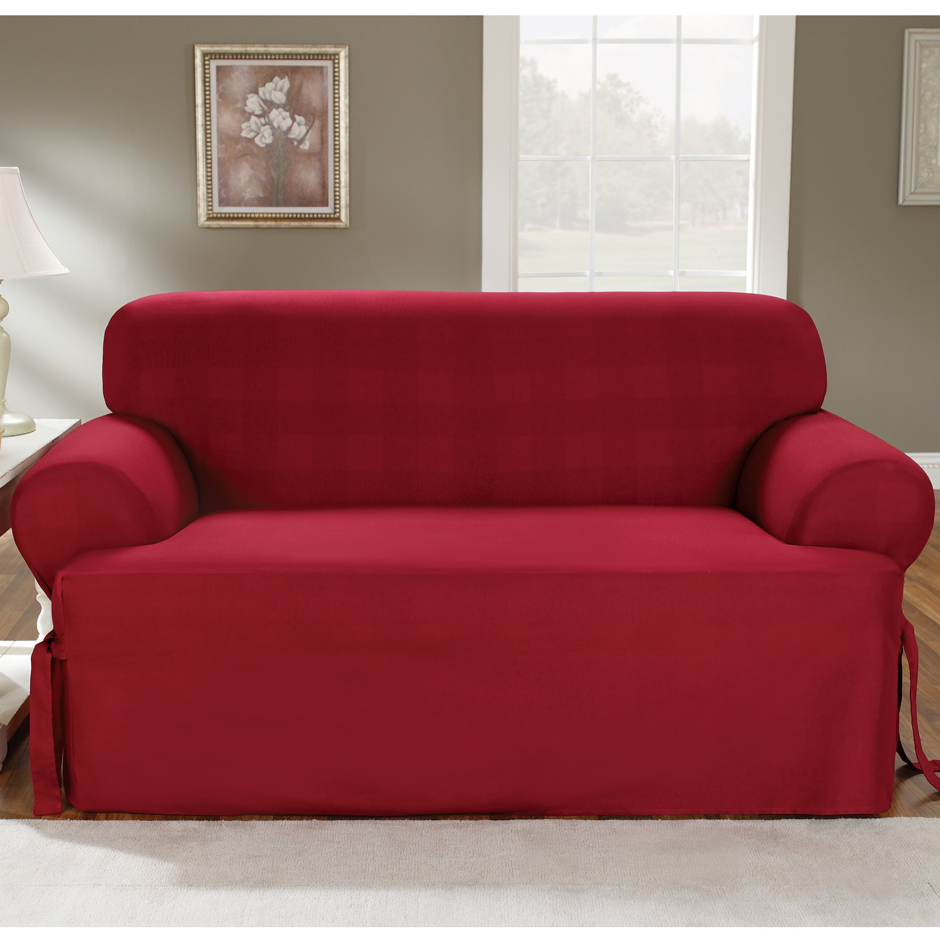 Sure Fit Duck Solid T-Cushion - Loveseat Slipcover  - Claret (SF33878) by Surefit